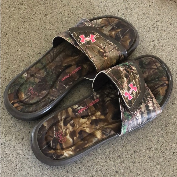 Pink And Camouflage Under Armour Slides